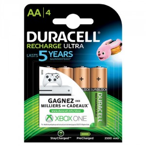 4 Piles AA 2500mAh Recharge Ultra StayChar HR06 DURACELL