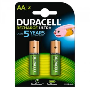 2 Piles AA 2500mAh Recharge Ultra StayChar HR06 DURACELL
