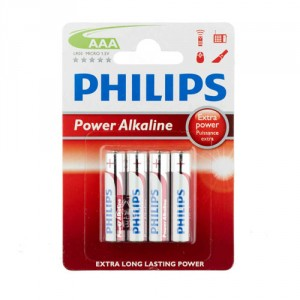 4 Piles AAA LR03 Power Alkaline PHILIPS