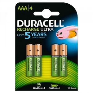 4 Pile AAA 850 mAh Recharge Ultra StayChar HR03 DURACELL