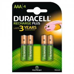 4 Pile AAA 750mAh Recharge Plus StayChar HR03 DURACELL